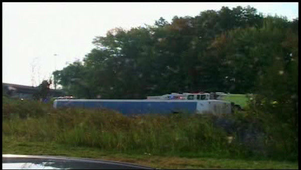 A charter bus from Canada with 60 people on board overturned on a Rotue 80 exit ramp in Wayne, New Jersey.