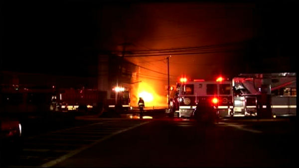 A tanker truck exploded along Pelham Parkway overnight, and the raging flames quickly spread to nearby buildings.  The tanker truck exploded while parked next to a gas station in Pelham Manor around 2:00 a.m.
