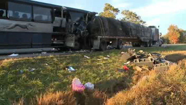 Photo from the scene where a Greyhound bus from New York City struck a tractor-trailer early Wednesday on Interstate 80 in central Pennsylvania, killing a woman, critically injuring four other people and sending dozens to the hospital.