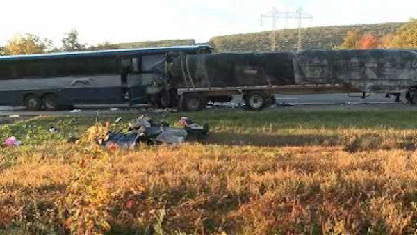 "<div class=""meta image-caption""><div class=""origin-logo origin-image ""><span></span></div><span class=""caption-text"">Photo from the scene where a Greyhound bus from New York City struck a tractor-trailer early Wednesday on Interstate 80 in central Pennsylvania, killing a woman, critically injuring four other people and sending dozens to the hospital. </span></div>"