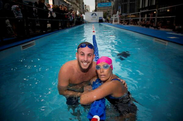 Photos from Diana Nyad's 48-hour swim in a 40-yard pool set up in Herald Square. Her aim is to raise money for people still struggling a year after Sandy.  More info:  http://www.crowdrise.com/SwimForRelief