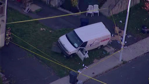 NewsCopter 7 over the scene where a van crashed into pedestrians in New Square, Rockland County.