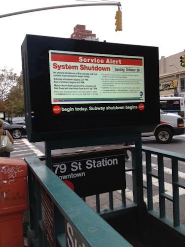 Notice of subway shutdown at 79th Street (Photo by Dr. Sapna Parikh)