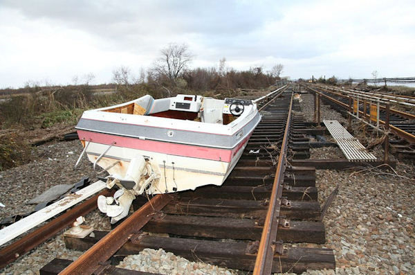 Damage to the Long Island Rail Road in the aftermath of Hurricane Sandy (MTA LIRR Photo)