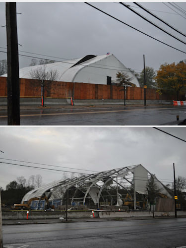 Before and after photos of a construction site, sent from an Eyewitness News viewer.