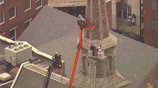 Two workers needed rescue after getting stuck in a lift more than 75 feet in the air outside the Morristown United Methodist Church in Morristown, New Jersey.