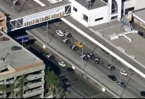 Scene outside LAX in Los Angeles, California after a reported shooting.