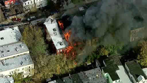One elderly man was killed and four firefighters were injured in a 2 alarm blaze in Jersey City, New Jersey