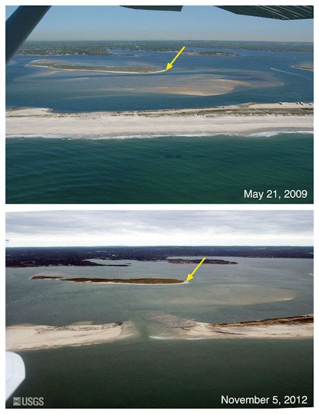 Oblique aerial photographs of Cupsogue Beach, New York. The view is looking northwest across West Hampton towards Great South Bay. The breach that formed during Sandy is just east of Moriches Inlet, which formed during a large nor'easter storm in 1931 and was stabilized in the 1950s. The yellow arrow in each image points to the same feature.