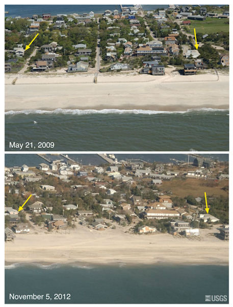 Oblique aerial photographs of Ocean Beach, Fire Island, New York. The view is looking northwest across Fire Island towards Great South Bay. Overwash from the beach and narrow dunes carried sand inland towards the interior and bayside of the island, and numerous houses were destroyed or severely damaged. The yellow arrow in each image points to the same feature.