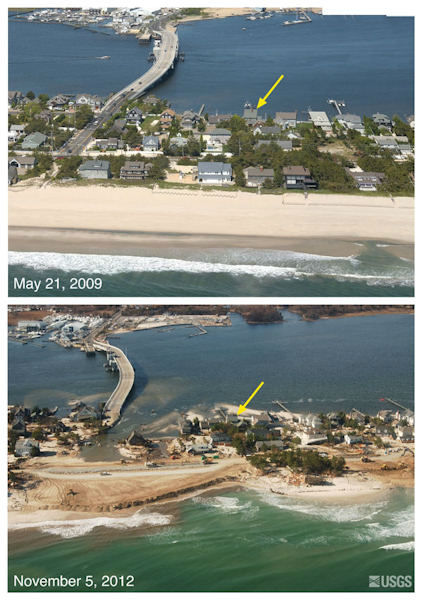Oblique aerial photographs of Mantoloking, NJ. View looking west along the New Jersey shore. Storm waves and surge cut across the barrier island at Mantoloking, NJ, eroding a wide beach, destroying houses and roads, and depositing sand onto the island and into the back-bay. Construction crews with heavy machinery are seen clearing sand from roads and pushing sand seaward to build a wider beach and protective berm just days after the storm. The yellow arrow in each image points to the same feature.