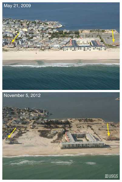 Oblique aerial photographs of Mantoloking, NJ. View looking west along the New Jersey shore. Storm waves and surge eroded the beach exposing building foundations, protective dunes, and houses in this part on Mantoloking. The burned houses are visible in the center of the bottom photograph. Only a few pilings remain of the first line of houses. Sediment was deposited on the island, remains on some roads, or has been cleared and placed in large piles in the parking lot behind the house marked by the arrow on the right. The yellow arrow in each image points to the same feature.