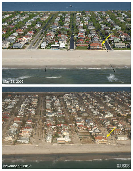Oblique aerial photographs of Neponsit, New York. The view is looking northwest across Rockaway Peninsula, adjacent to New York Harbor. Sand was washed from the beach into the streets, and towards the bayside of the island, and several rows of ocean-facing houses were destroyed or damaged. The yellow arrow in each image points to the same feature
