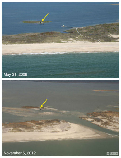 Oblique aerial photographs of Pelican Island and Fire Island, New York. The view is looking northwest across Fire Island towards Great South Bay. This location is within Fire Island National Seashore near Old Inlet - a very narrow portion of the island that has experienced breaching in previous large storms. The island breached during Sandy, creating a new inlet. Despite the breach, the fishing shack (yellow arrow) remained standing.