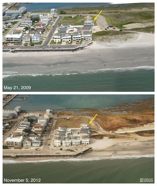 Location 8: Oblique aerial photographs of Brigantine, NJ. View looking northwest along the New Jersey shore. Storm waves and surge eroded the beach and exposed the seawall. Overwash of the seawall is indicated by sand deposited on the street. Low dunes on the eastern flank of the seawall were eroded. The yellow arrow in each image points to the same feature.