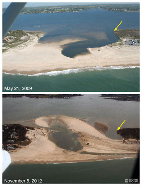 Oblique aerial photographs of Bridgehampton, New York. The view is looking northwest across the south shore of Long Island towards Mecox Bay. This location is a very narrow and periodically opens during large storms. Large volumes of material were transported into Mecox Bay when it breached during the storm. One week after the storm, the breach was being closed by mechanical means. The yellow arrow in each image points to the same feature.