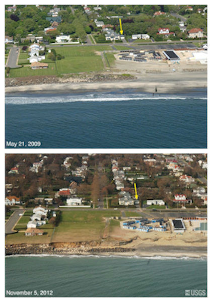 Oblique aerial photographs of Deal, NJ. View looking west along the New Jersey shore. Large erosional scarps are visible in the low cliff, indicating likely overtopping of the rock shore protection structures. The yellow arrow in each image points to the same feature.