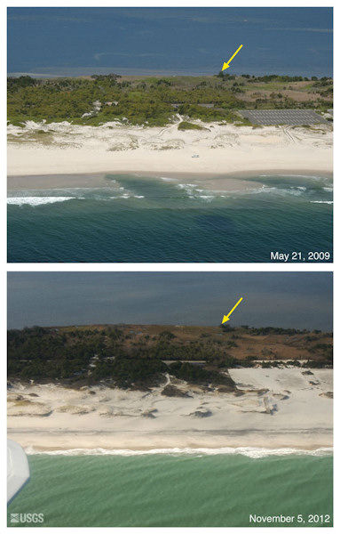 Oblique aerial photographs of Island Beach State Park, NJ. View looking west along the New Jersey shore. Storm surge and waves eroded the front face of the dunes and overwash is indicated by sand deposited in the parking lot behind the beach. The yellow arrow in each image points to the same feature
