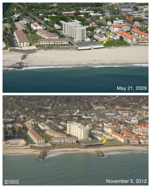 Oblique aerial photographs of Long Branch, NJ. View looking west along the New Jersey shore. Storm waves and currents removed sand from the beach exposing erosion control structures, including rock walls, concrete walls, and groins that protrude seaward perpendicular to the beach. The yellow arrow in each image points to the same feature.