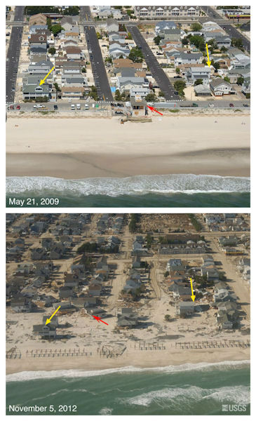 Oblique aerial photographs of Seaside Heights, NJ. View looking west along the New Jersey shore. Storm waves and surge destroyed the dunes and boardwalk, and deposited the sand on the island, covering roads. The red arrow points to a building that was washed off of its foundation and moved about a block away from its original location. The yellow arrow in each image points to the same feature.