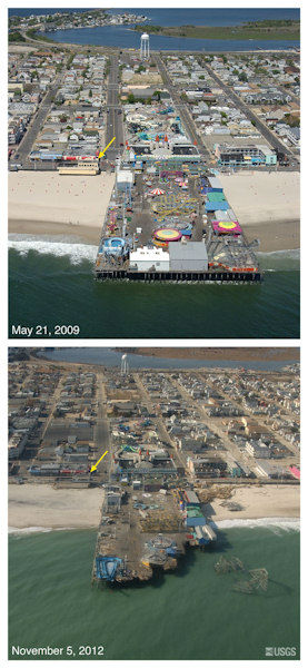 Oblique aerial photographs of Seaside Height Pier, NJ. View looking west along the New Jersey shore. Storm waves and surge eroded the beach and destroyed the seaward edge of the pier and deposited the roller coaster superstructure in the ocean. Sediment deposited on the island is visible in the background and indicates that overwash occurred here. The yellow arrow in each image points to the same feature.