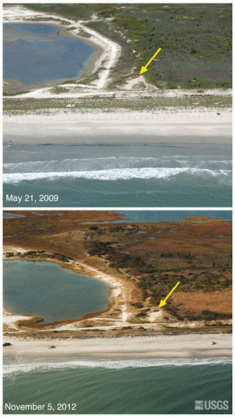 Oblique aerial photographs of Stone Harbor Point, NJ. View looking northwest along the New Jersey shore. Wave attack on the dunes resulted in erosion and retreat, leaving a distinctive erosional scarp on the seaward face of the dune. The yellow arrow in each image points to the same feature.