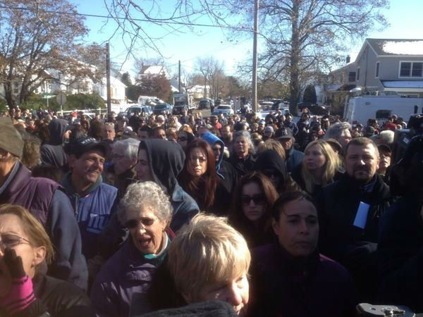 Angry residents gathered in Oceanside, Long Island on Friday, Nov. 9, 2012 to protest the LIPA response to Hurricane Sandy.  (Josh Einiger/WABC)