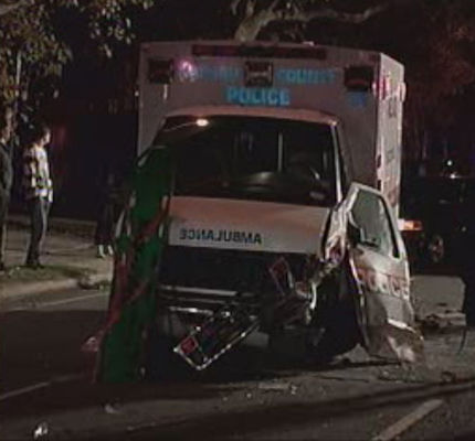 Police said there were no serious injuries when a car collided with an ambulance in Valley Stream on Thursday, November 11, 2010.