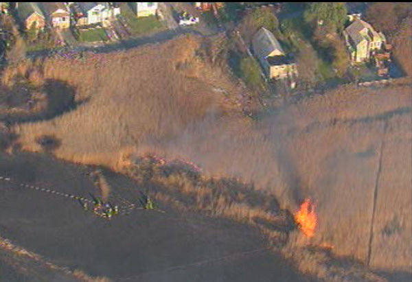 A five alarm fire burned through brush in the Oakwood Beach section of Staten Island on Friday, November 12, 2010. <span class=meta>(WABC Photo)</span>
