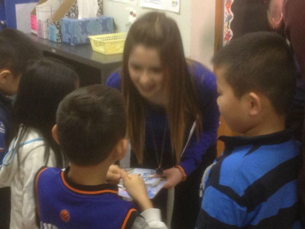 Disney Channel&#39;s Laura Marano &#40;Austin and Ally&#41; paid a visit to Manhattan&#39;s PS 124 to deliver free books and read to students. <span class=meta>(WABC Photo&#47; Art McFarland)</span>
