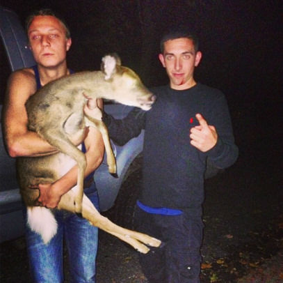 "<div class=""meta ""><span class=""caption-text "">Instagram photo of young men accused of capturing 2 yearling whitetail deer on Long Island.  They face up to $1,700 in fines. (Photo/Instagram)</span></div>"