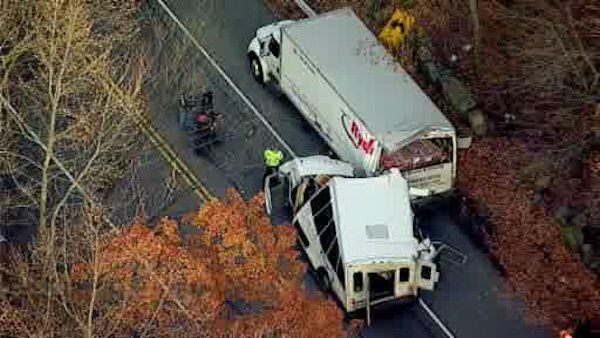 NewsCopter 7 over the scene of an accident between a shuttle bus and a Ryder truck in Tenafly, New Jersey. <span class=meta>(WABC Photo&#47; NewsCopter 7)</span>