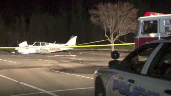 A pilot crash-landed a small plane early Saturday in a Rye Brook parking lot near Westchester County Airport.