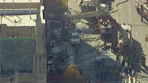 NewsCopter 7 over the scene of a 4-alarm fire in Washington Heights on Monday, November 18, 2013.
