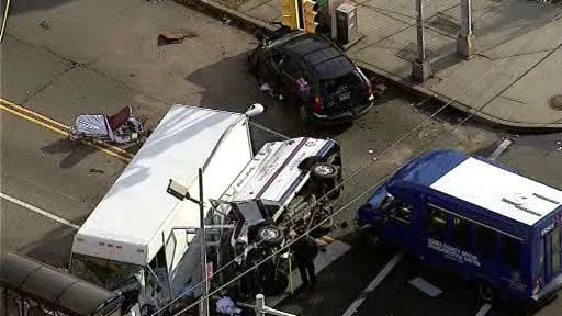 NewsCopter 7 over the scene of an accident at S Orange Ave. and S 9th St. in Newark, New Jersey on Monday, November 19, 2012.