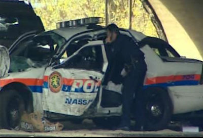 "<div class=""meta ""><span class=""caption-text "">A Nassau County Police officer from the 7th precinct was critically injured in an accident while pursuing a suspect near North Broadway and Eastbound Southern State Pkwy at Route 110 in Massapequa.   </span></div>"