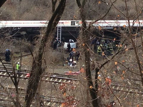 Photos from the scene of the Metro North derailment on Sunday, December 1, 2013 <span class=meta>(WABC Photo&#47; Joseph John Ramos)</span>