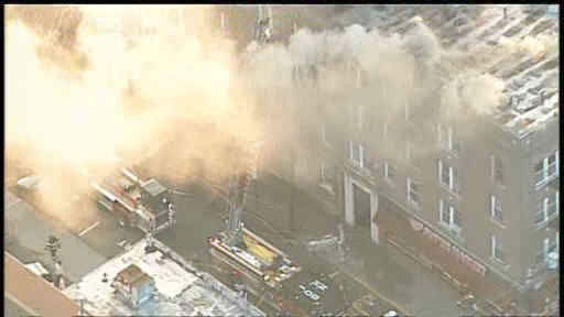 Apartment building fire in Union City, New Jersey