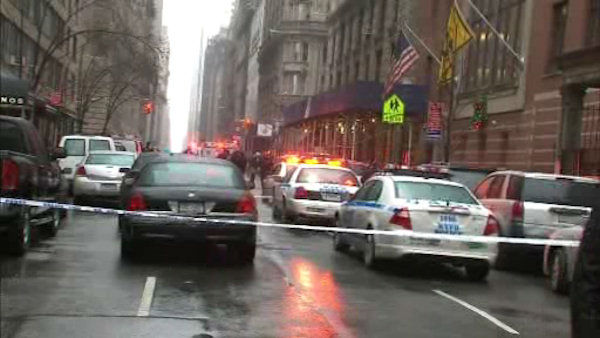 A man was shot in the head at 58th and Broadway in Midtown Manhattan around 2:00 p.m. on Monday, December 10, 2012.