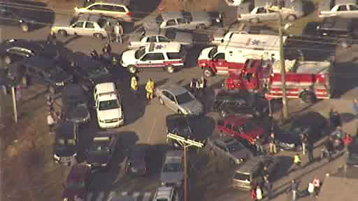 Newscopter 7 Scene outside Sandy Hook Elementary in Newtown, Connecticut following reported shooting on Friday, December 14, 2012.