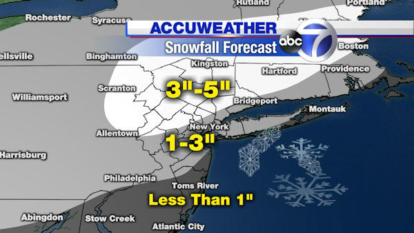 Here's the current breakdown of projected snow totals from AccuWeather.