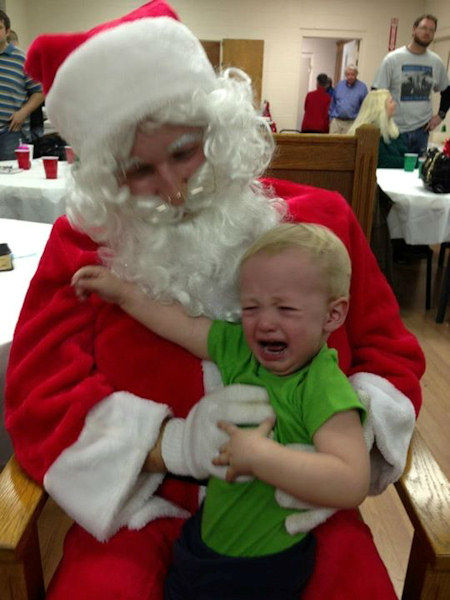Jackson was not real fond of Santa at his family dinner!