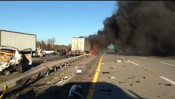 "<div class=""meta ""><span class=""caption-text "">As many as 32 vehicles were involved in a serious accident on the LIE in Shirley, Suffolk County on Wednesday, December 19, 2012.</span></div>"