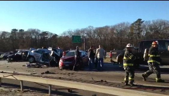 As many as 32 vehicles were involved in a serious accident on the LIE in Shirley, Suffolk County on Wednesday, December 19, 2012.