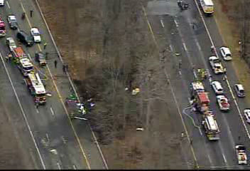 NewsCopter 7 over the scene of the crash of a small aircraft along I-287 in Morris County, New Jersey on December 20, 2011