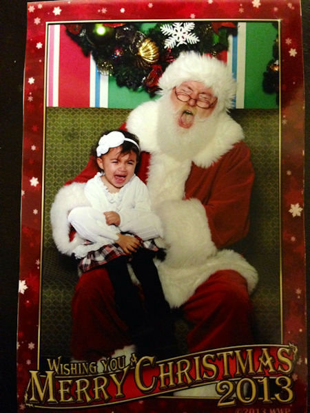 Skyler and Santa appear to be scaring each other.