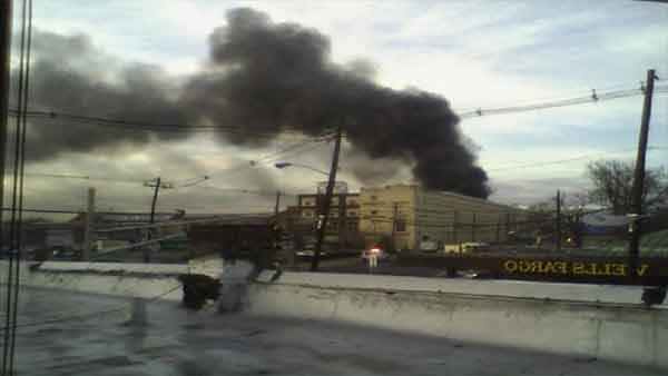 A seven-alarm fire burned in a large warehouse in Elizabeth, New Jersey.