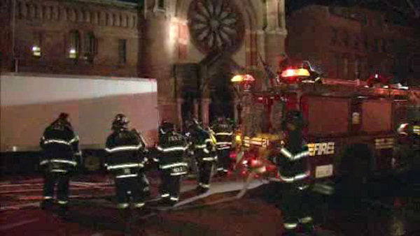 A 19th-century Brooklyn church that was a hub for Superstorm Sandy volunteer efforts has been damaged in a fire investigators call suspicious.