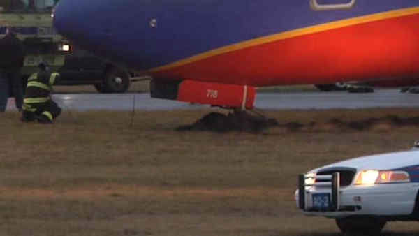A Southwest plane ended up in the mud at MacArthur Airport on Long Island.