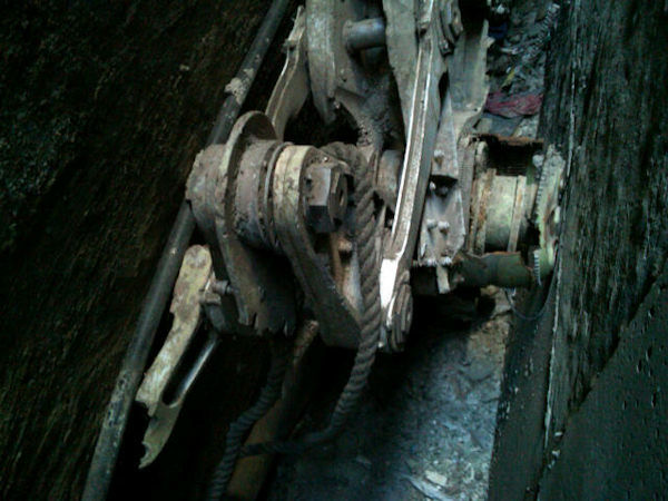 A part of a landing gear, apparently from one of the commercial airliners destroyed on September 11, 2001, discovered near Ground Zero by contractors on April 24, 2013.  (NYPD Photo)